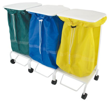 Porto Foot Operated Linen Trolley (tripple)