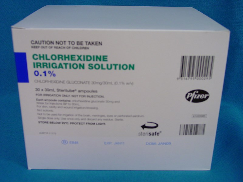 Pfizer Chlorhexidine Irrigation Solution 0.1% 30ml Steritube Ampoules